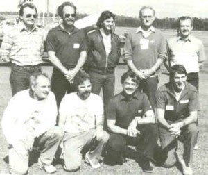 Richard in 1984 at the Philips World Aerobatic Challenge. Left to right back row: Victor Smolin, Kermit Weeks, Geoff Selvey, Henry Haigh, Gordon Price. Left to right front row: Eric Mueller, Sergio Dallan, Richard Goode, Frank Fry